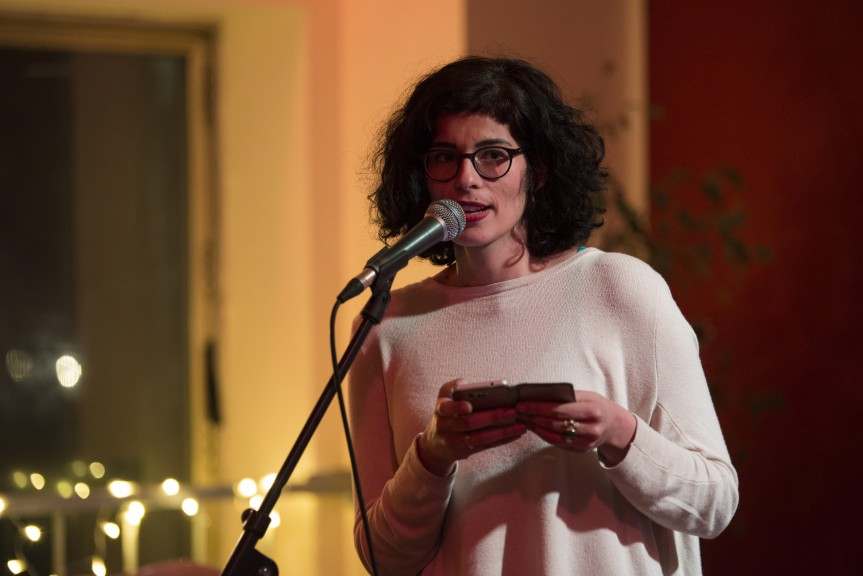 Rima Chakaroun performing at the LeipGlo/Baileo Cocktail Open Mic in February. (Photo: Kate Hiller)